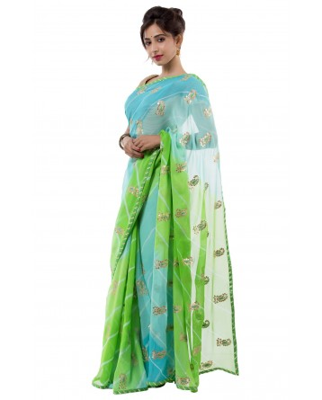 Ranas Multi Color Pure Georgette Saree