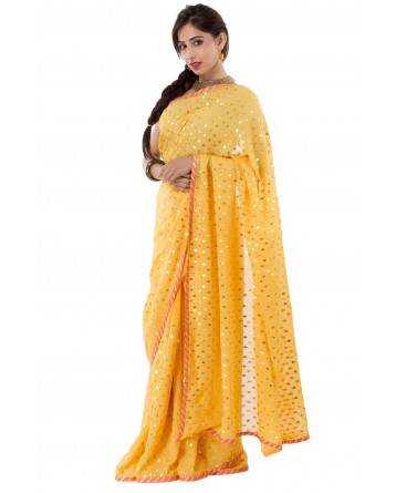 Ranas Yellow Faux Georgette Saree