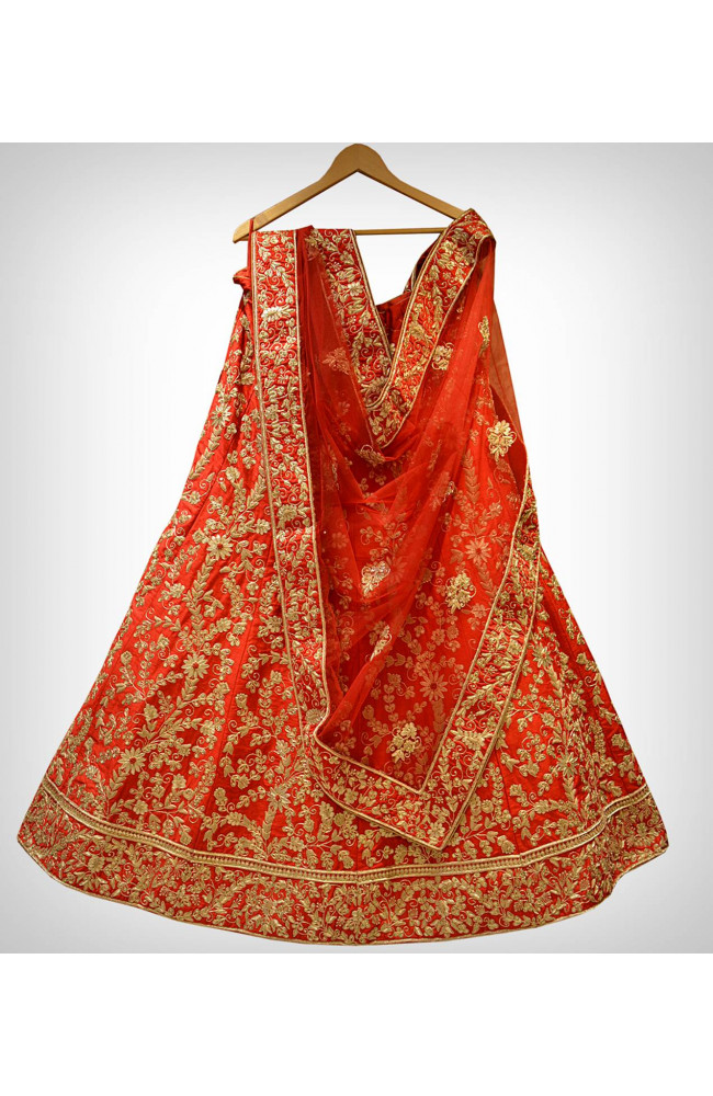 Ranas Red Raw Silk Bridal Lehenga