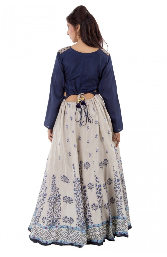 Ranas  Blue & Grey  Printed Gown