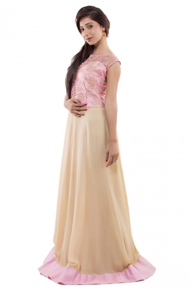 Ranas Pink and Beige Color Gown