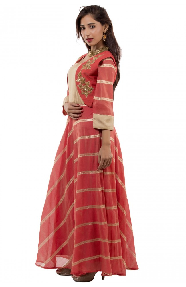 Ranas Red & Golden Color Gown