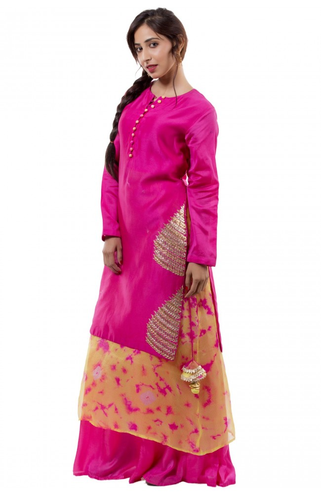 Ranas Pink & Yellow Suit with Plazo