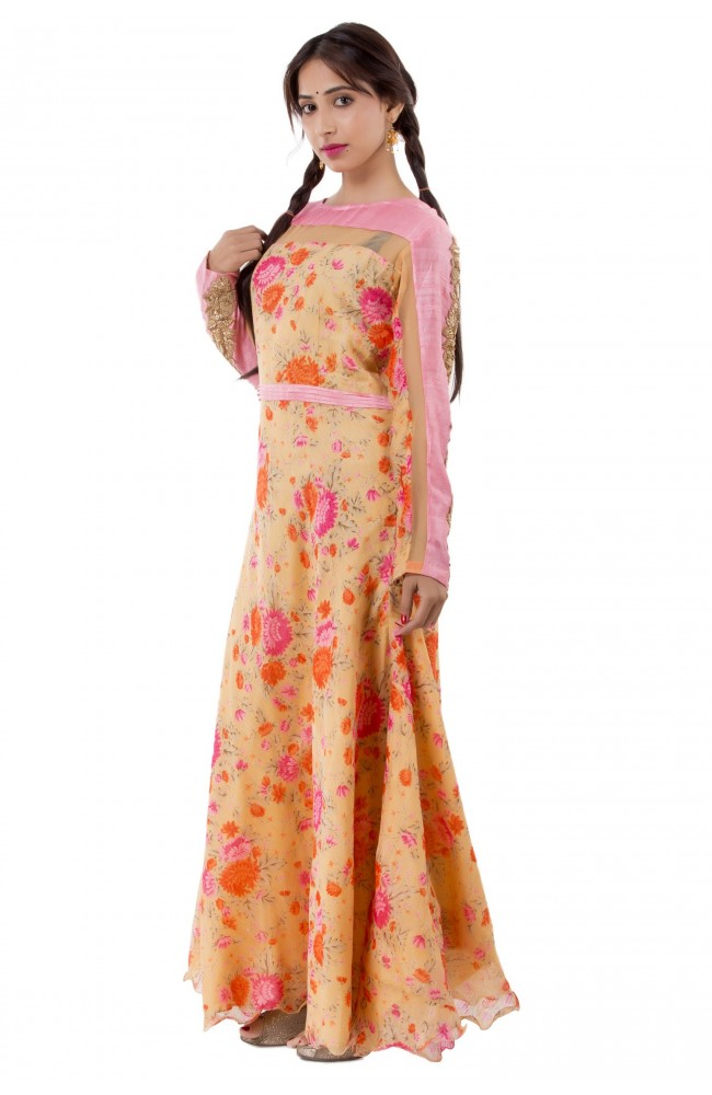 Ranas Golden Printed & Peach Color Gown