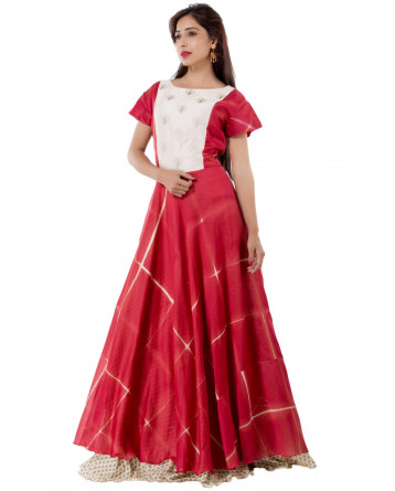 Ranas Red & Off White Gown