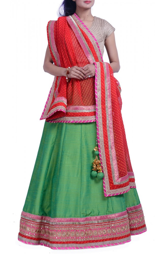 Faux Raw Silk Green Lehenga