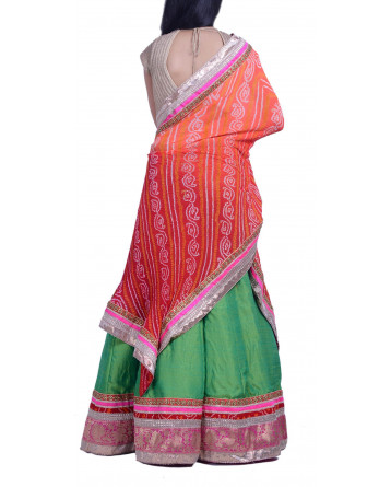 Ranas Green Raw Silk Lehenga
