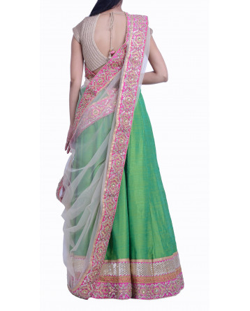 Ranas Raw Silk Green Lehenga