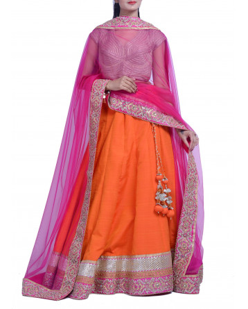 Ranas Raw Silk Orange Lehenga