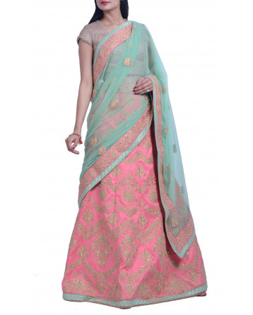 Faux Raw Silk Lehenga In Peach Color