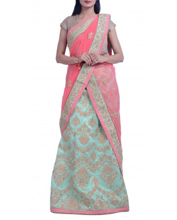 Faux Raw Silk Lehenga In Pista Green Color