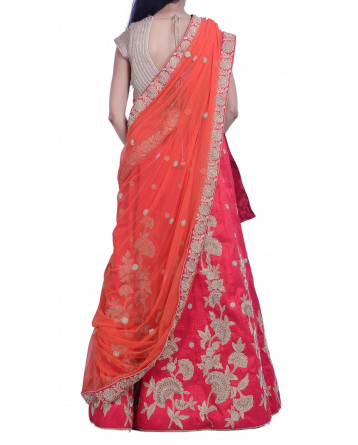Ranas Red Raw Silk Lehenga