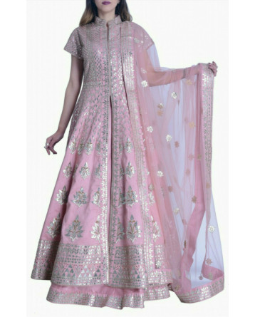 Gotta Patti Long Jacket Lehenga