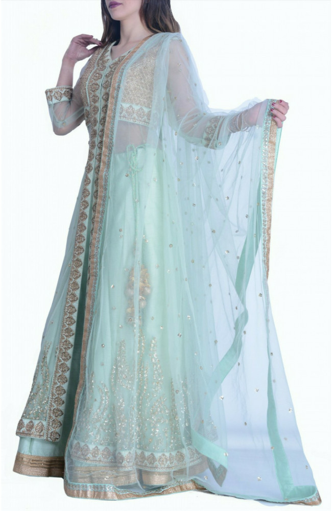 Jacket Lehenga In Pista green