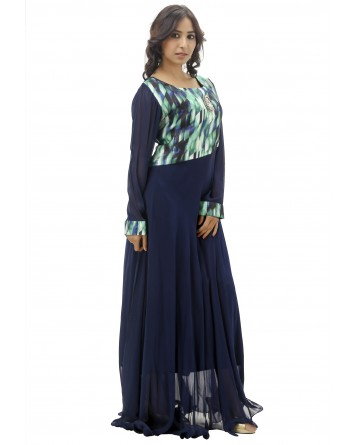 Ranas Faux Georgette Blue Gown