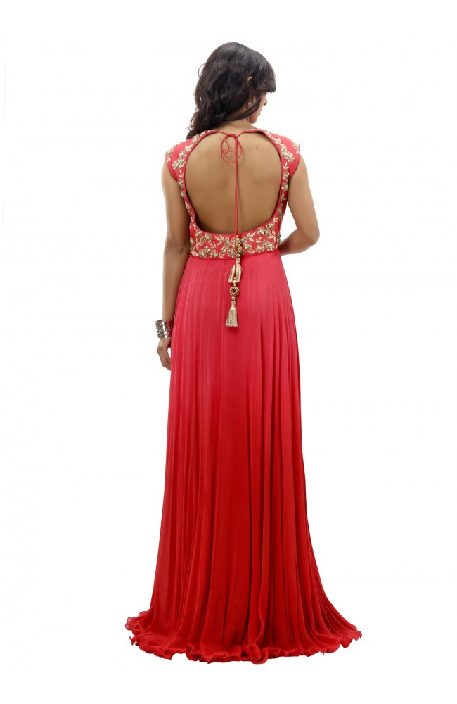 Ranas Red Evening Gown