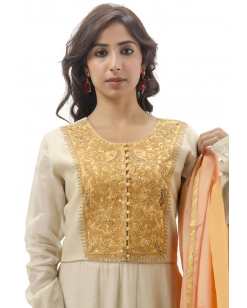 Ranas Cream Chanderi Suit