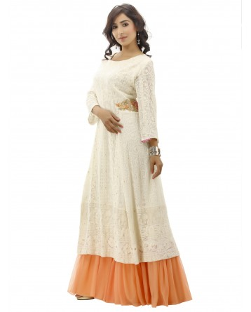 Ranas Georgette Cream Gown