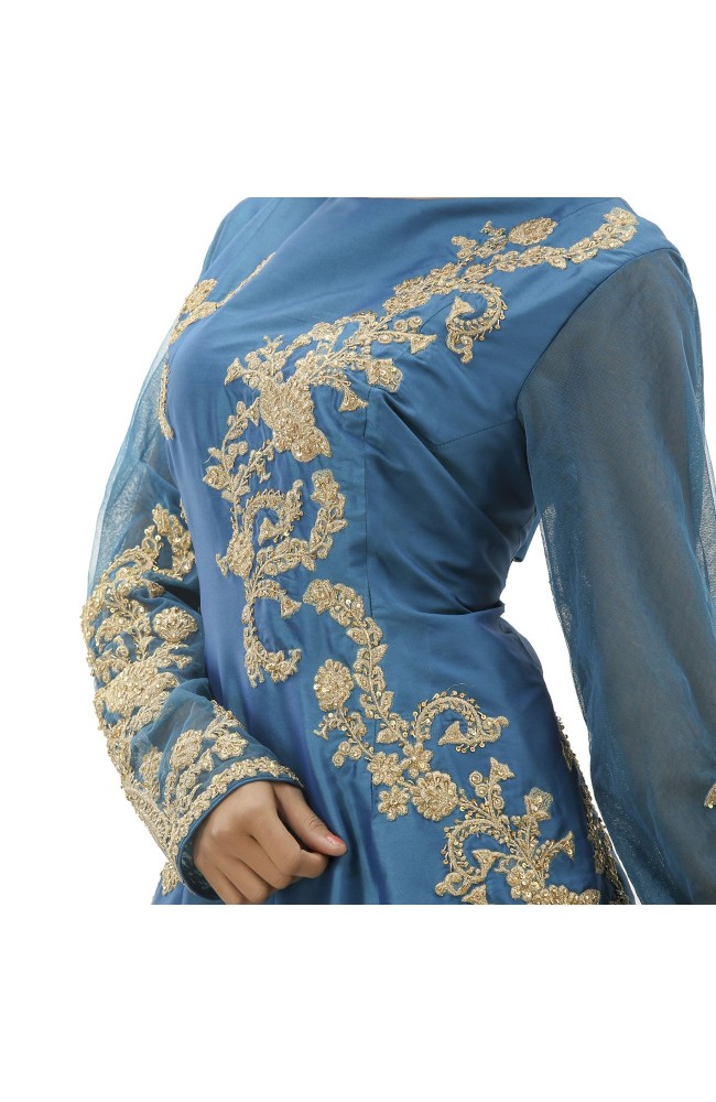 Ranas  Blue Color Silk Gown