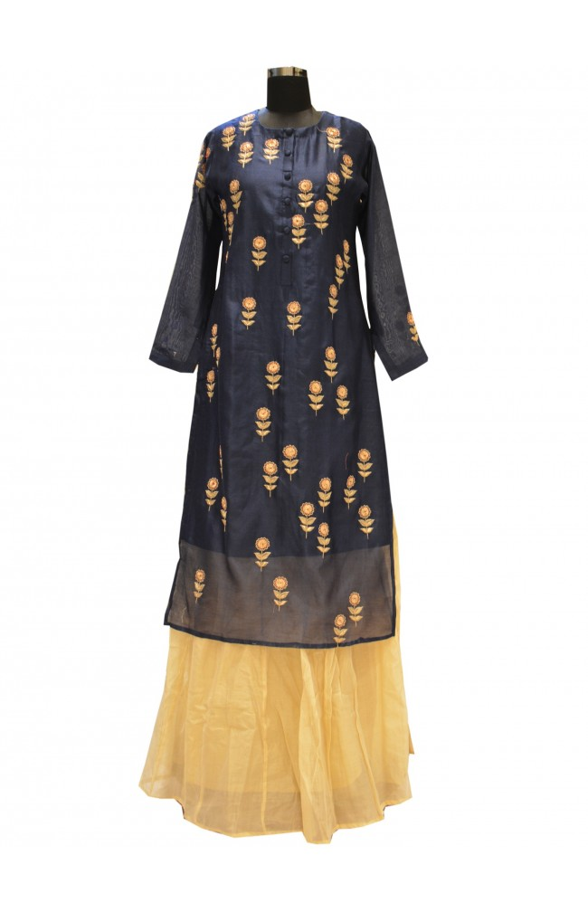 Ranas Blue Chanderi Kurti With Skirt