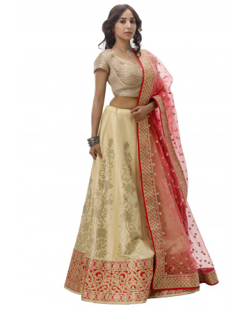 Ranas Beige Color Raw Silk Lehenga
