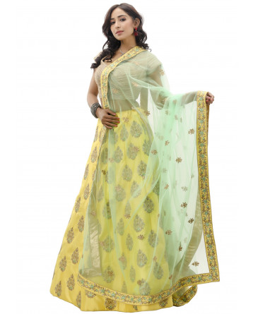 Ranas Yellow Color Raw Silk Lehenga