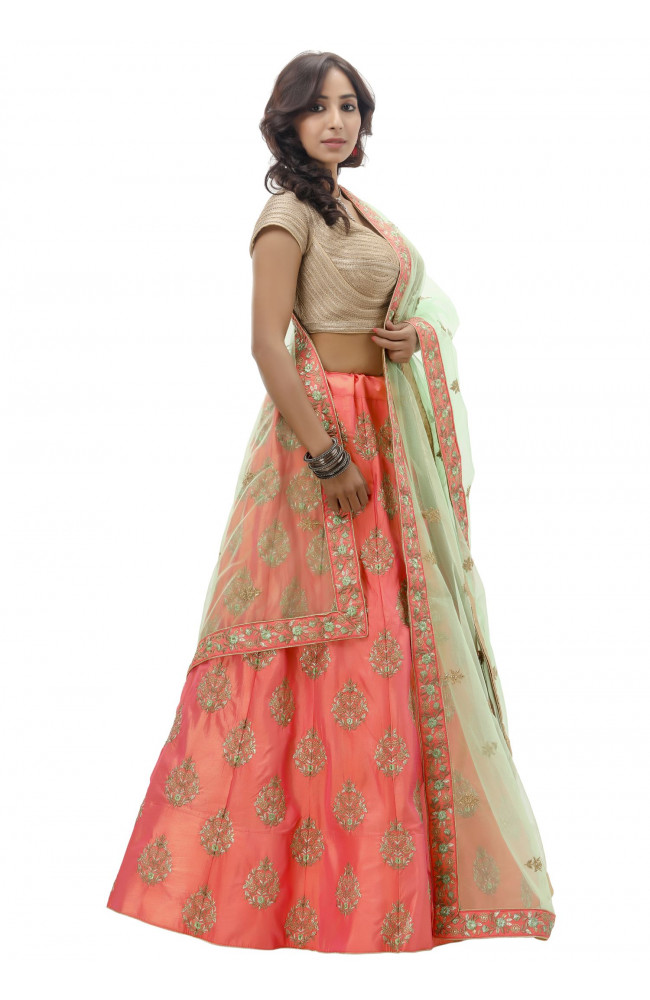 Ranas Peach Color Raw Silk Lehenga