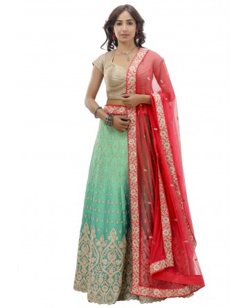 Ranas  Green Shaded Silk Lehenga