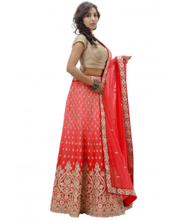 Ranas Red & Peach Shaded Lehenga