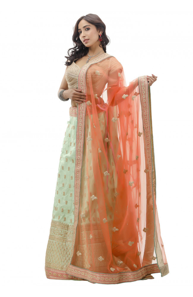 Ranas Sea Green Raw Silk Lehenga