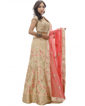 Ranas Beige Color Silk Lehenga