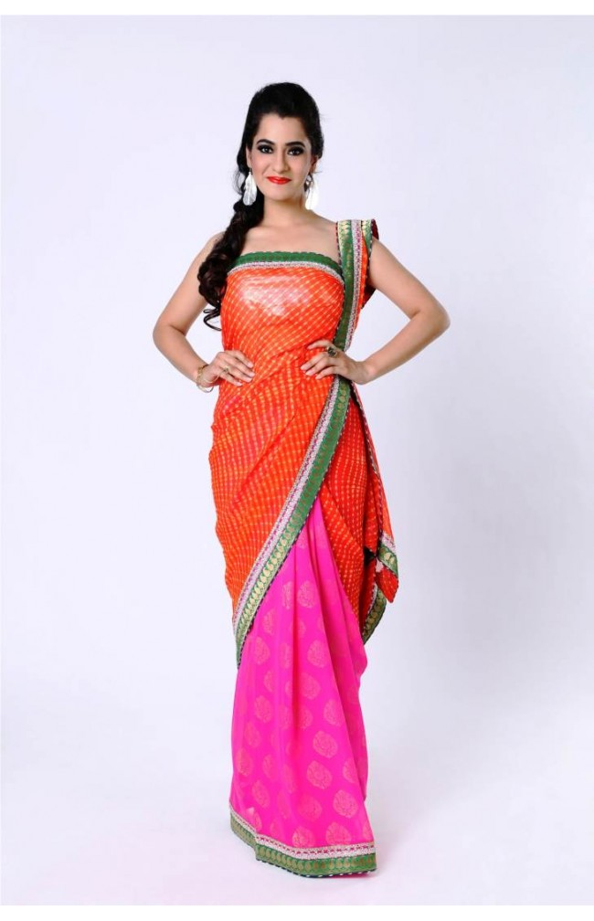 Ranas Orange/ Pink Pure Georgette Saree