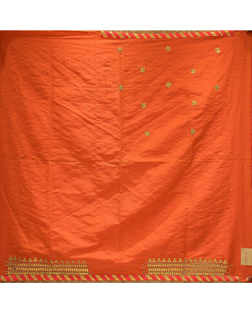Dupion Silk Lehenga in Orange Color