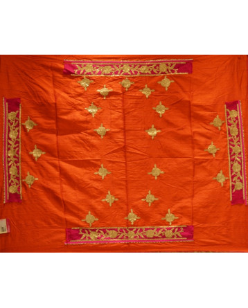 Raw Silk Lehenga In Orange Color