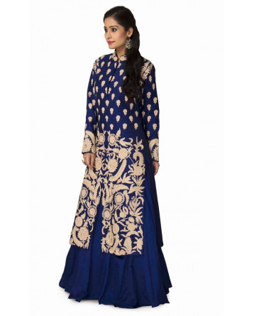 Royale Blue Straight Jacket Lehenga