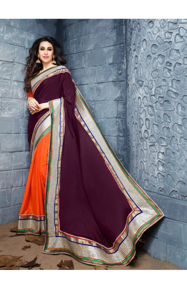 Half-Half Faux Wrinkle Crepe Mirror Work Bead Lace Work Saree