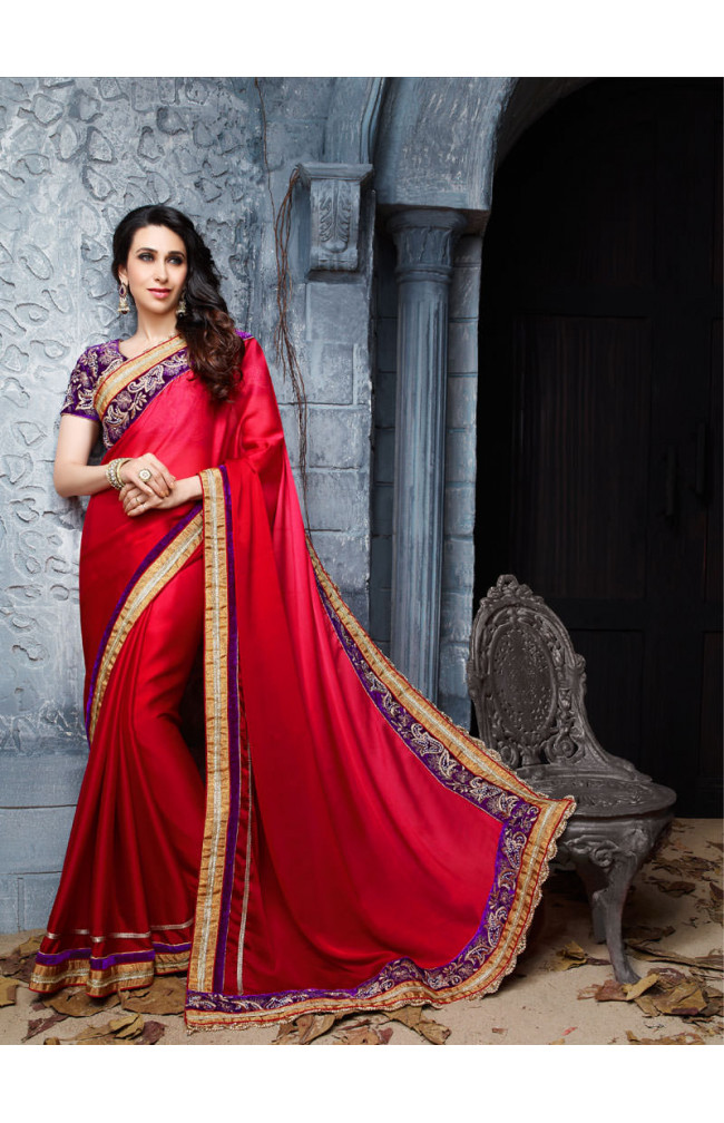 Shaded Faux Satin Crepe Pearl Zari Work Saree
