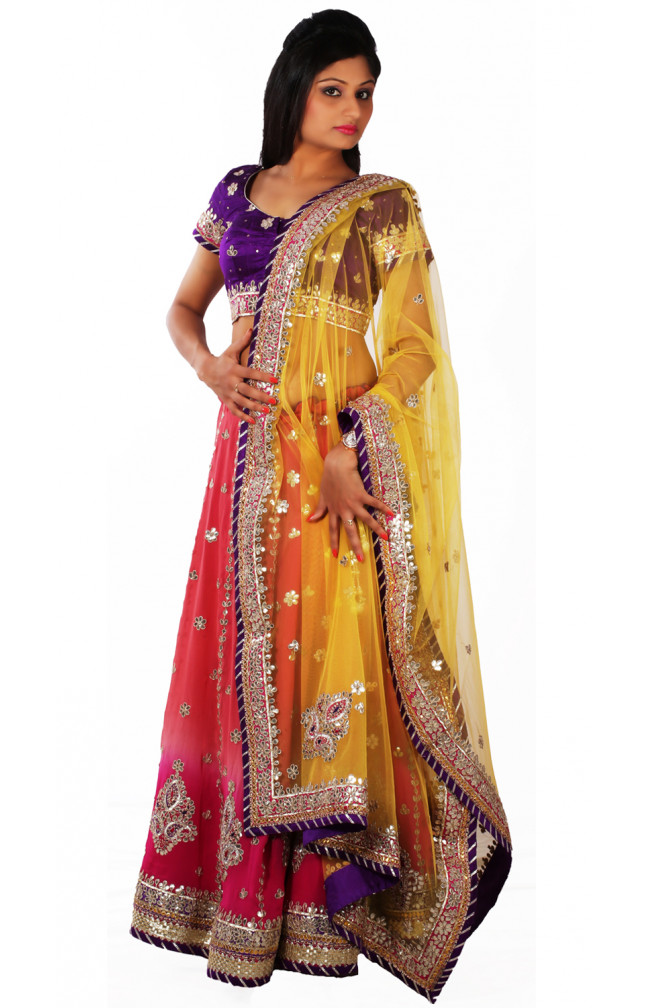 Ranas Peach Pink Shaded Color Designer Lehenga