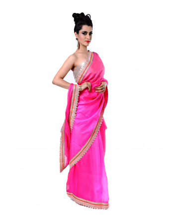 Ranas Pure Kota Silk Shaded Pink Saree