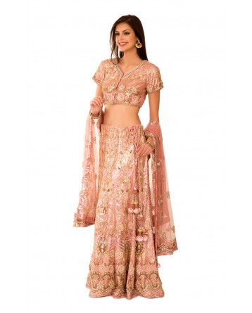 Ranas Peach Net Kutdana Stones Embroidery Sequence Beads Lehenga