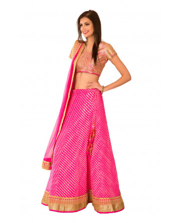 Ranas Pink Georgette Sequence Dori Work Lehenga