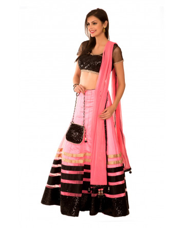 Ranas Pink Net Lappi Sequence Border Work Lehenga