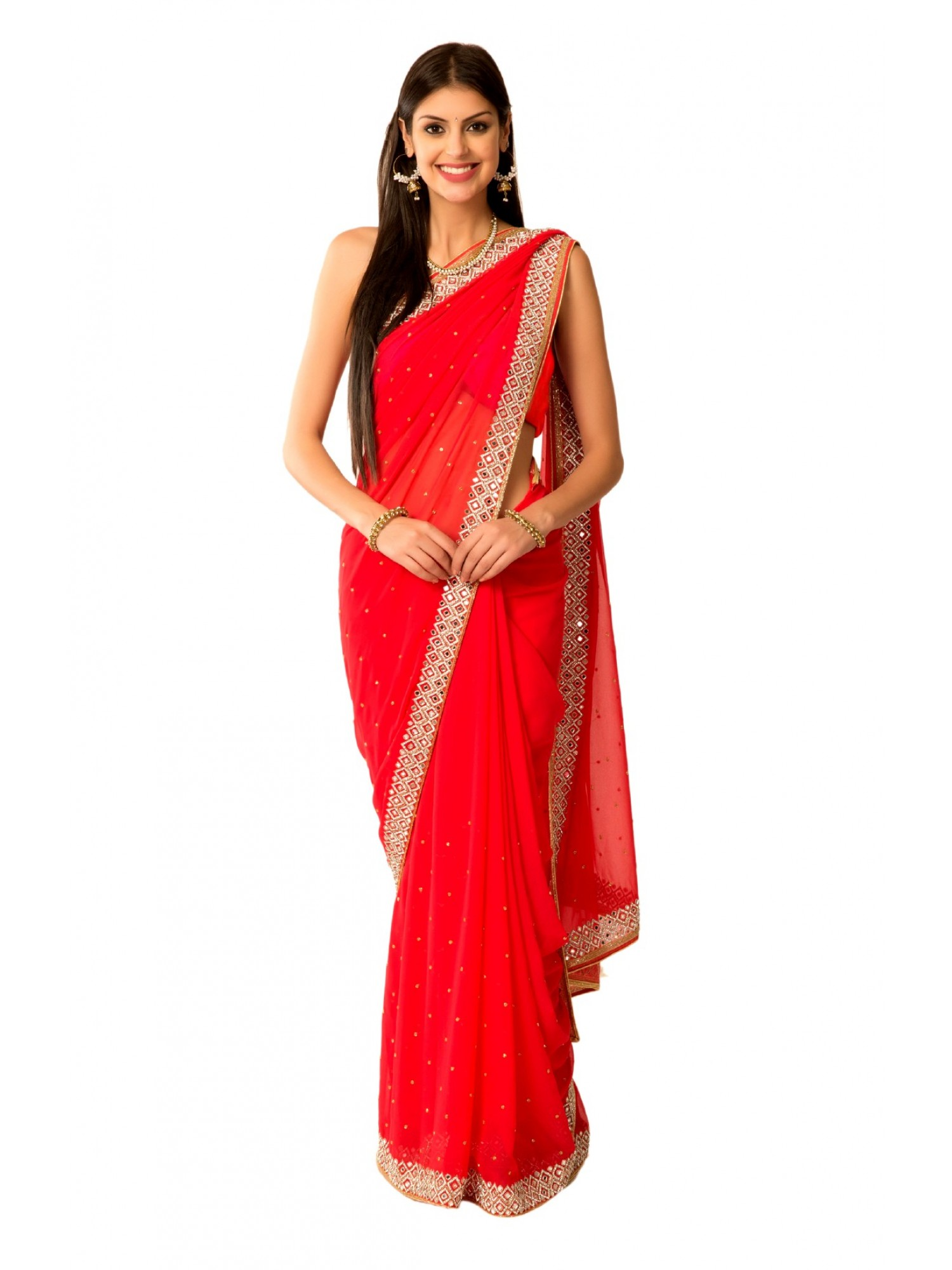 Ranas red faux georgette crystal kutdana mirror work saree for Mirror work saree