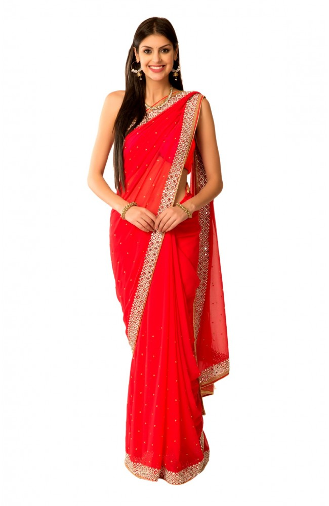 Ranas Red Faux Georgette Crystal Kutdana Mirror Work Saree