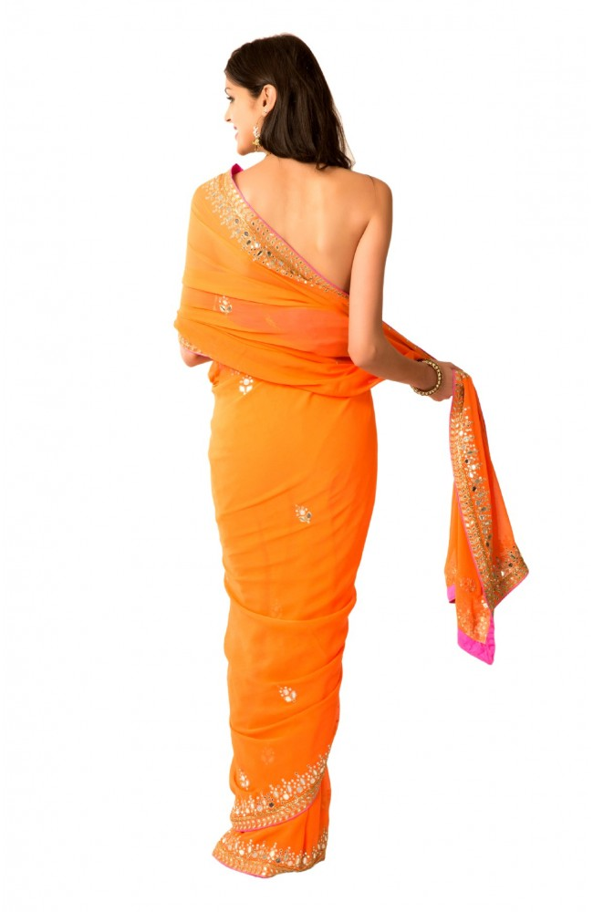 Ranas Orange Aari Kutdana Mirror Work Saree