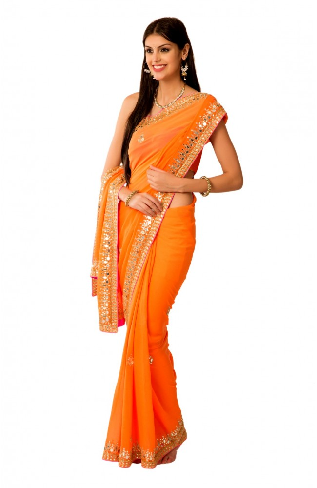 Ranas orange aari kutdana mirror work saree for Mirror work saree