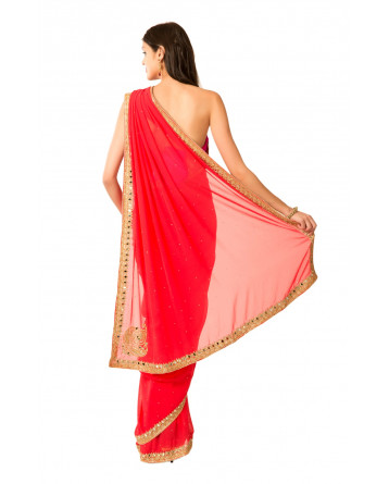 Ranas Red Faux Georgette Mirror Kutdana Zardosi Aari Crystal Work Saree