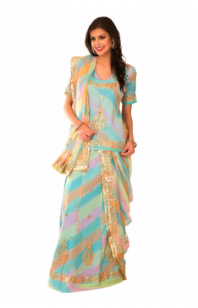 Ranas Multi Color Georgette Gota Patti Sequins Kasab Work Rajputi Poshak