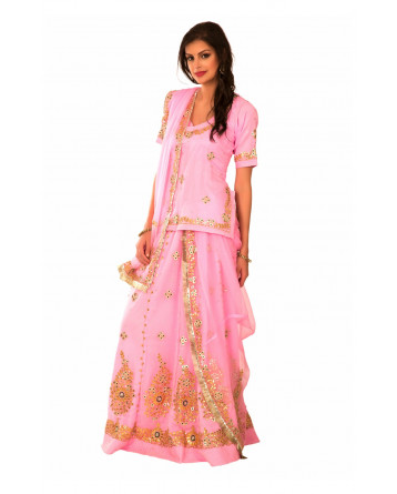 Ranas Pink Georgette Gota Patti  Sequence  Tissue Patti Crystal Stone Work Rajputi Poshak