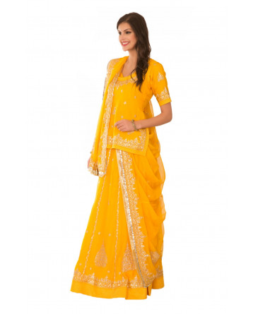 Ranas Yellow Georgette Aari Pittan Beads Sequins Work Rajputi Poshak